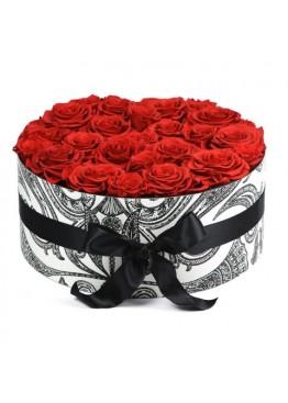 75 красных роз в коробке