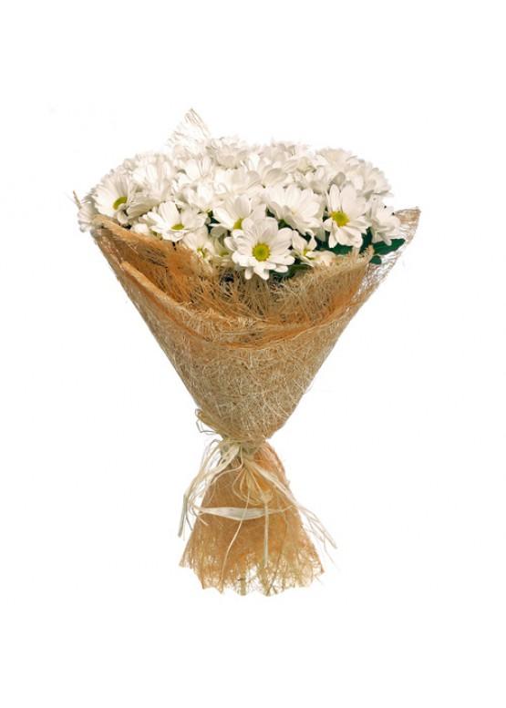 Букет из 29 белых кустовых хризантем