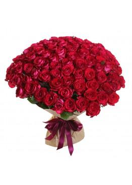 101 красная роза высотой 60 см.