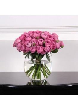 25 роз Мисти Баблс в вазе